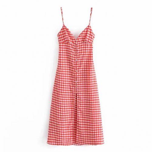 Vestido Largo Cuadros Rojo ALIEXPRESS