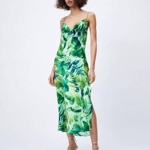 Vestido Lencero Estampado Tropical ZARA