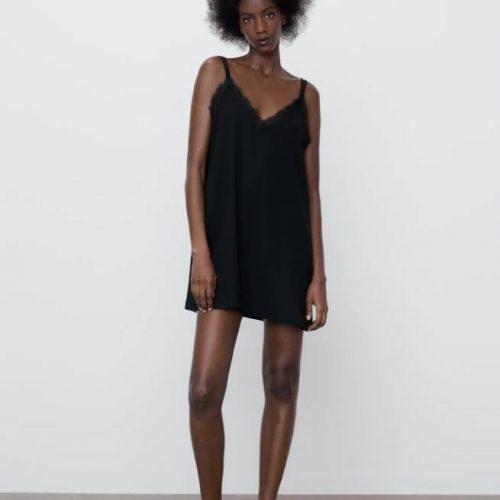 Vestido Lencero Negro ZARA