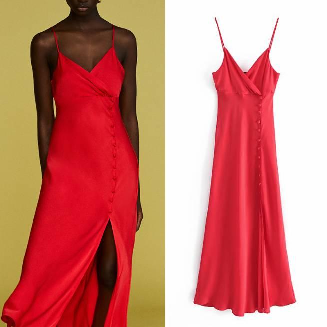 Vestido Lencero Satinado Rojo ALIEXPRESS