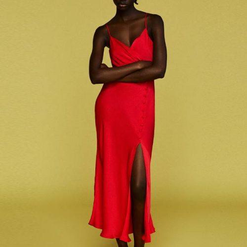 Vestido Lencero Satinado Rojo ZARA