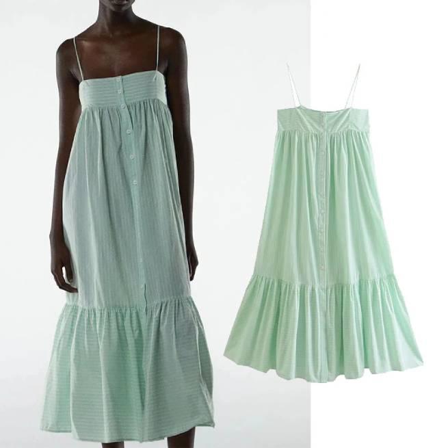 Vestido Midi Rayas Verde Agua ALIEXPRESS