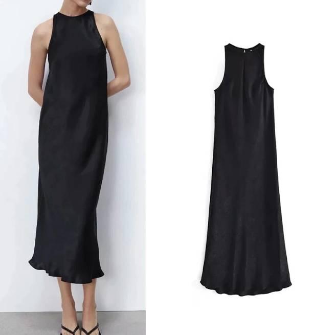 Vestido Midi Satinado Negro ALIEXPRESS