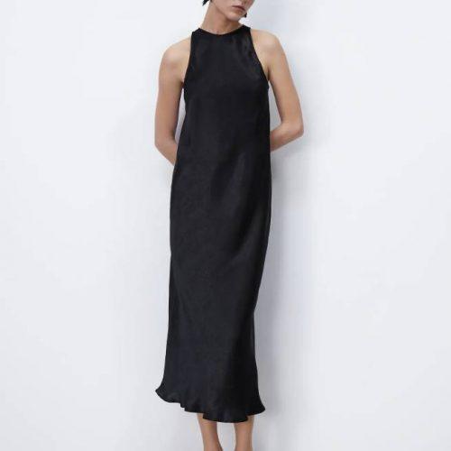 Vestido Midi Satinado Negro ZARA