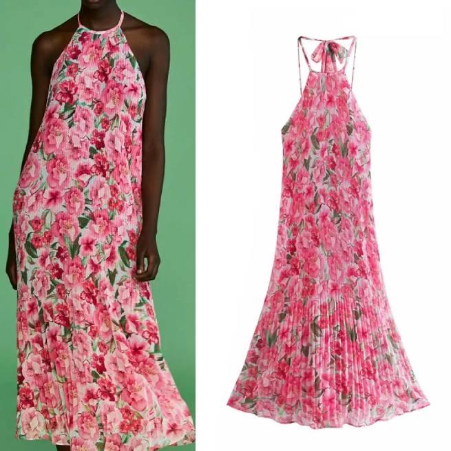 Vestido Plisado Estampado Floral ALIEXPRESS