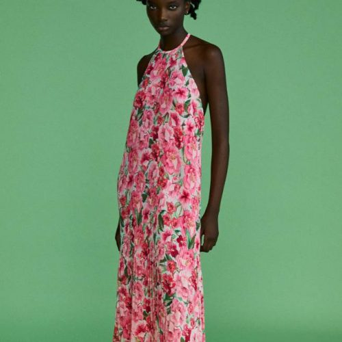 Vestido Plisado Estampado Floral ZARA