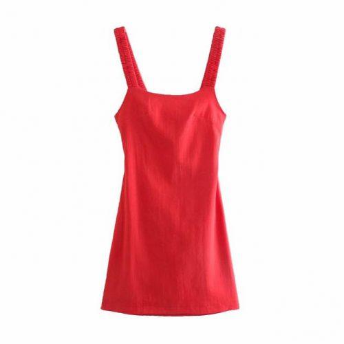 Vestido Rojo Fruncido Sin Mangas ALIEXPRESS
