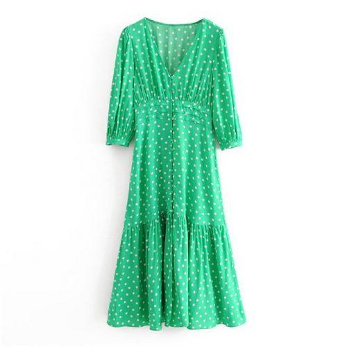 Vestido Verde Lunares Blancos ALIEXPRESS