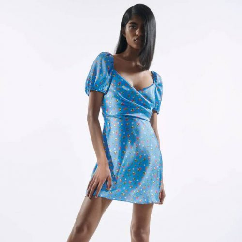 Vestido Corto Estampado Floral Azul ZARA