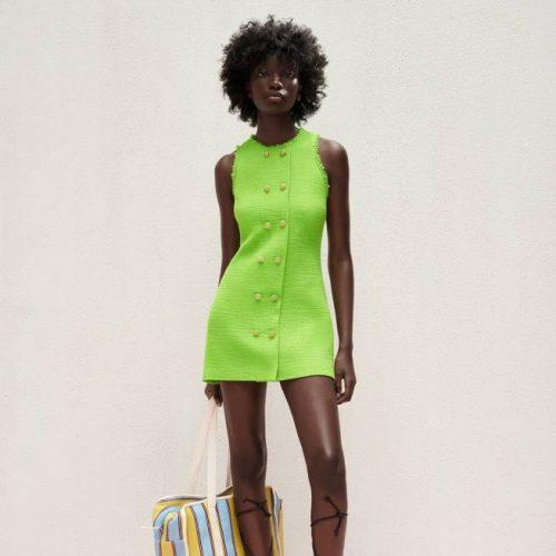 Vestido Estructura Botones Verde Fluor ZARA