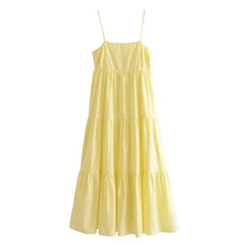 Vestido Midi Tirantes Amarillo ALIEXPRESS