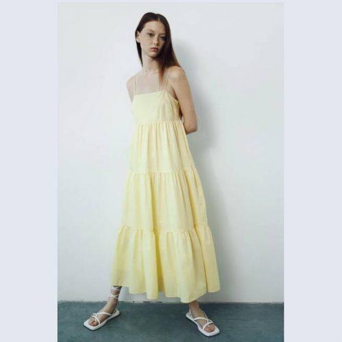 Vestido Paneles Algodón Amarillo ZARA