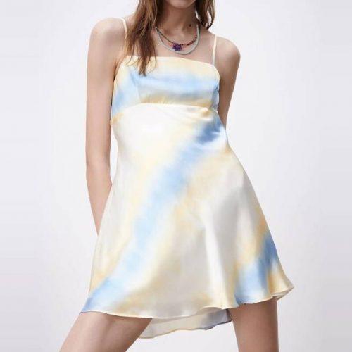 Vestido Satinado Tie Dye Mini ZARA