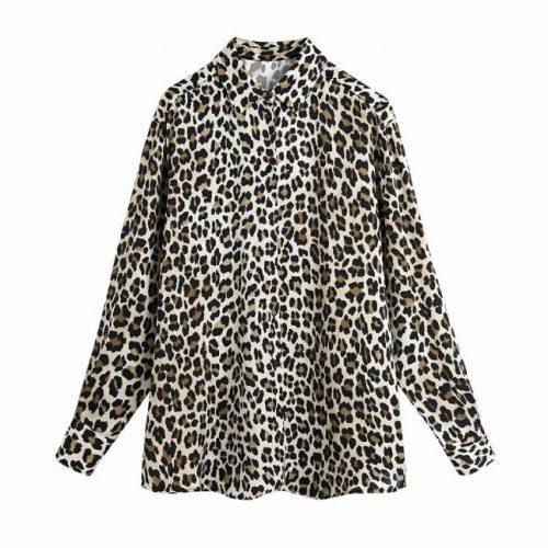 Camisa Estampada Satinada Leopardo ALIEXPRESS