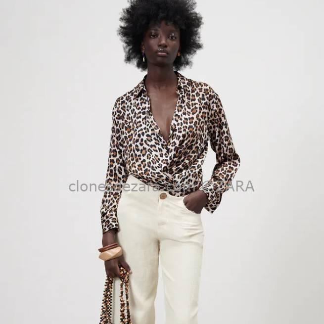 Camisa Estampada Satinada Leopardo ZARA