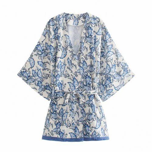 Kimono Estampado Azul ALIEXPRESS