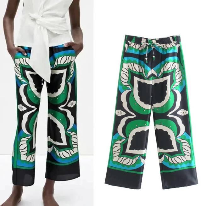 Pantalón Estampado Multicolor Tiro Alto ALIEXPRESS