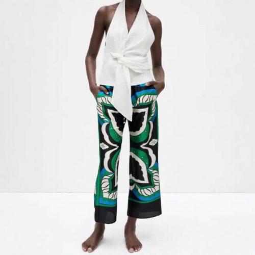Pantalón Estampado Multicolor Tiro Alto ZARA
