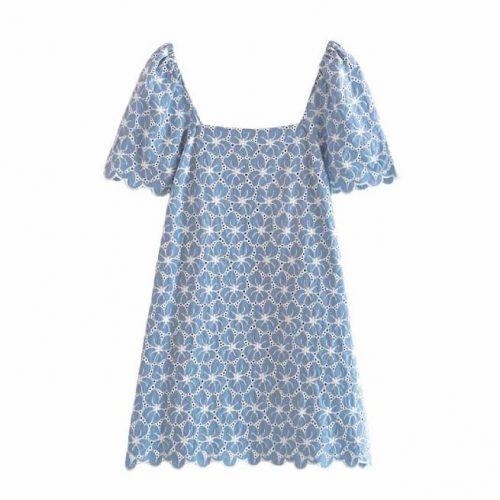 Vestido Bordados Perforados Azul ALIEXPRESS