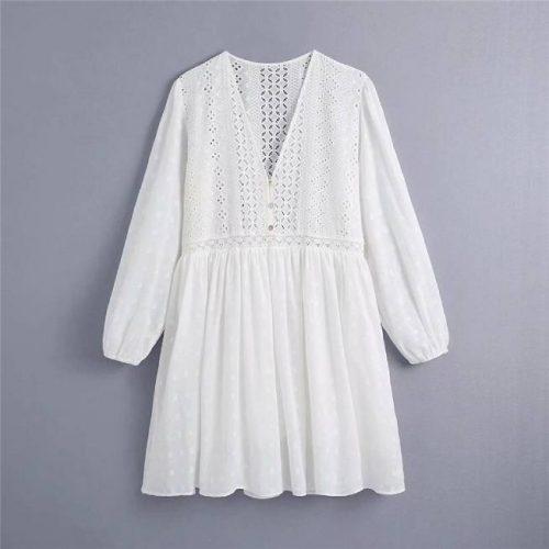 Vestido Bordados Perforados Blanco Roto ALIEXPRESS