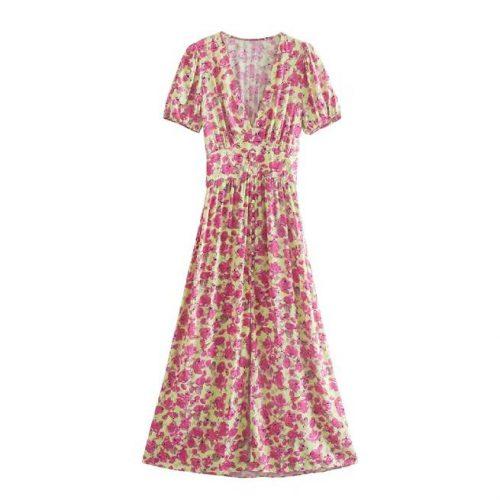 Vestido Estampado Flores Rosa ALIEXPRESS