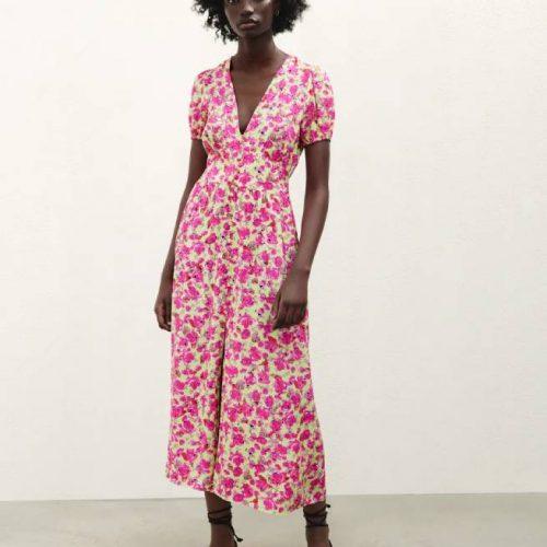 Vestido Estampado Flores Rosa ZARA