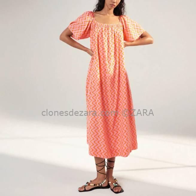 Vestido Estampado Mandarina ZARA