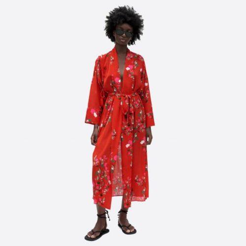 Vestido Largo Estampado Rojo ZARA