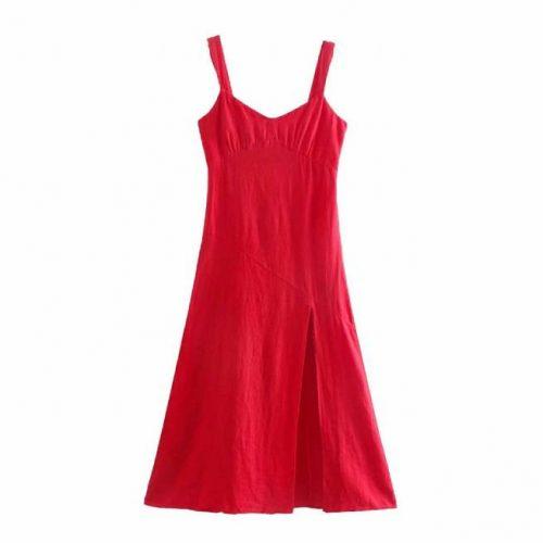Vestido Lino Abertura Rojo ALIEXPRESS