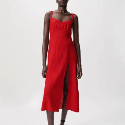 Vestido Lino Abertura Rojo ZARA