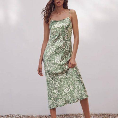 Vestido Midi Estampado Verde ZARA