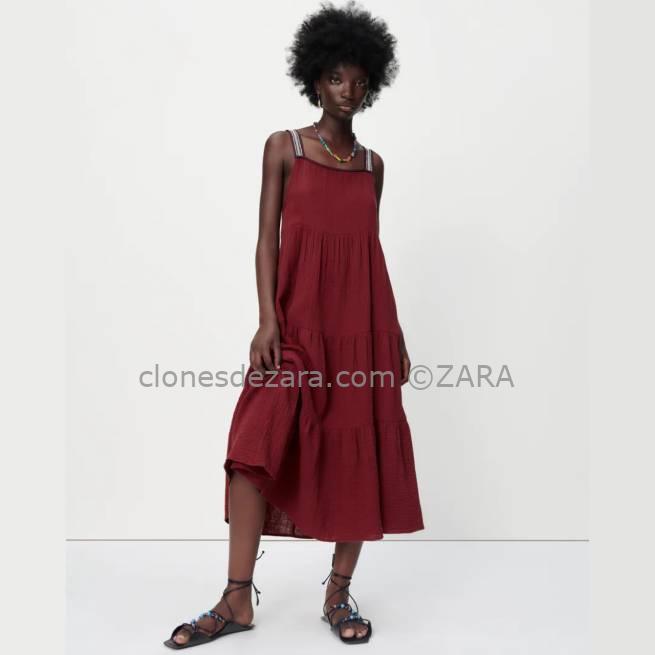Vestido Midi Estructura Burdeos ZARA