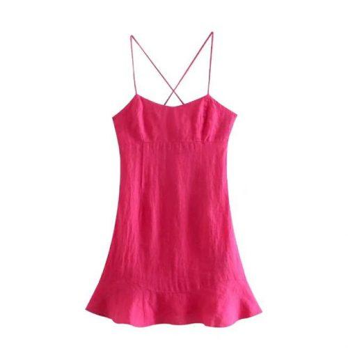 Vestido Mini Lino Fucsia ALIEXPRESS