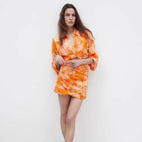 Top Estampado Nudo Naranja ZARA