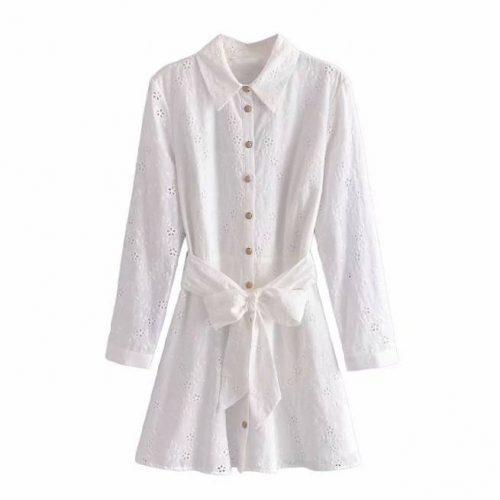 Vestido Blanco Roto Bordados Perforados ALIEXPRESS