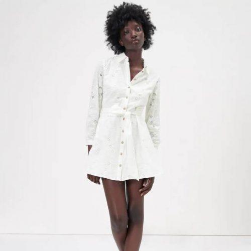 Vestido Blanco Roto Bordados Perforados ZARA