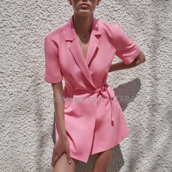 Vestido Blazer Con Lino Rosa ZARA