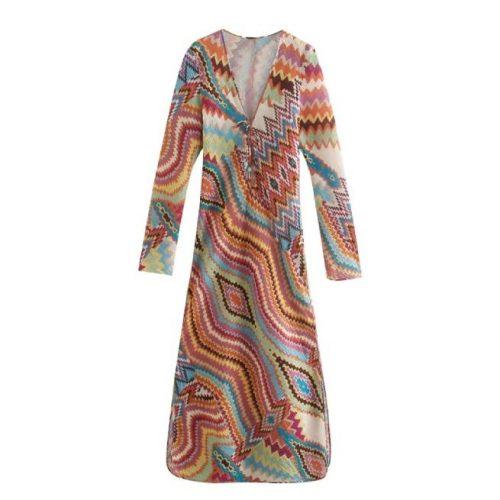Vestido Largo Estampado Multicolor ALIEXPRESS