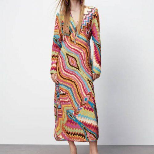 Vestido Largo Estampado Multicolor ZARA
