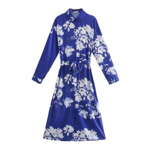 Vestido Midi Azul Estampado Floral ALIEXPRESS
