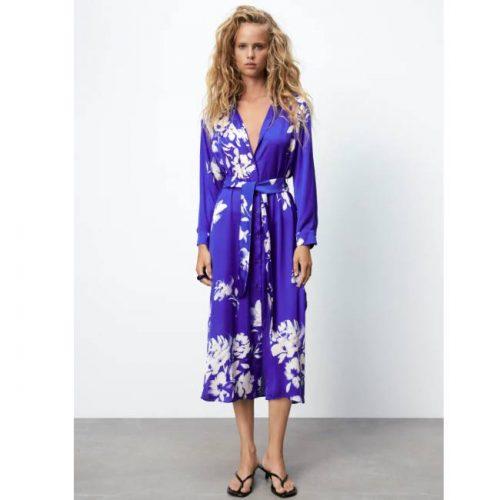 Vestido Midi Azul Estampado Floral ZARA