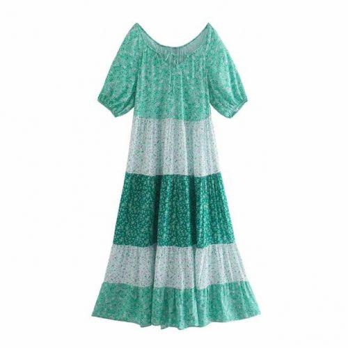 Vestido Paneles Estampado Floral Verde ALIEXPRESS