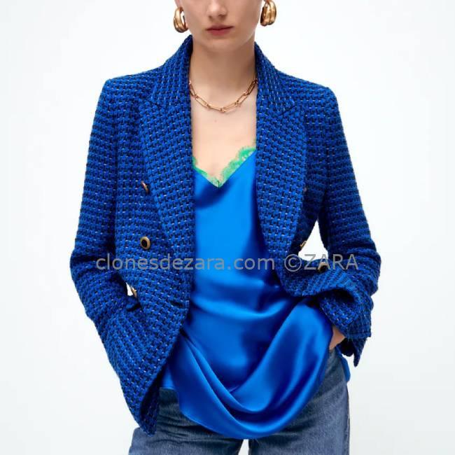 Blazer Estructura Cruzada Azul ZARA