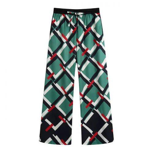 Pantalón Estampado Geométrico Verde ALIEXPRESS