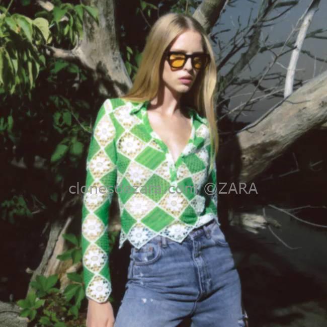 Top Crochet Verde ZARA