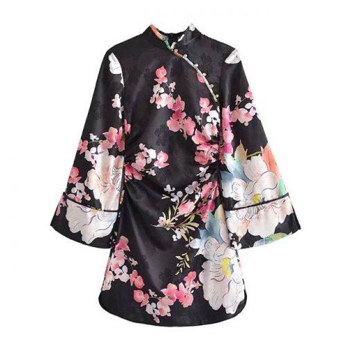 Vestido Kimono Estampado Floral ALIEXPRESS