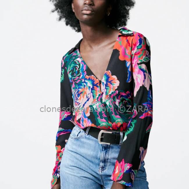 Camisa Floral Multicolor ZARA