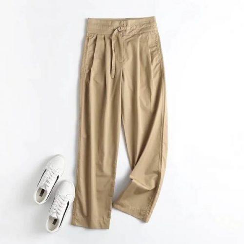 Pantalón Pinzas Cinturón Corte Recto ALIEXPRESS