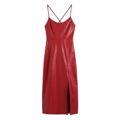 Vestido Efecto Piel Rojo ALIEXPRESS