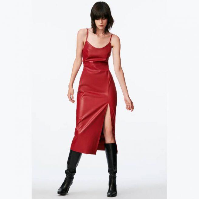 Vestido Efecto Piel Rojo ZARA
